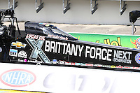 Mar 13, 2015; Gainesville, FL, USA; NHRA top fuel driver Brittany Force during qualifying for the Gatornationals at Auto Plus Raceway at Gainesville. Mandatory Credit: Mark J. Rebilas-