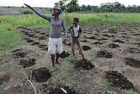 MOZAMBIQUE, Chimoio, BAGC Beira agricultural growth corridor, failed and abandoned 2000 hectare Jatropha farm of Sun Biofuels Mozambique SA which was planted as biofuel project in 2010 at old portuguese tobacco farm, the plan was to reach 10.000 hectares in 2015, small scale farmer ANORIA VURANDE and her daughter  TCHERTI plant maize / MOSAMBIK, Chimoio, BAGC Beira agricultural growth corridor, gescheiterte und aufgegebene 2000 Hektar Jatropha Farm of Sun Biofuels Mozambique SA, die 2010 als Biosprit Projekt auf einer alten Tabakplantage gepflanzt wurde, laut Planung sollte die Pflanzung 2015 auf 10.000 Hektar ausdehnt werden, Frau ANORIA VURANDE mit ihrer Tochter TCHERTI saehen erstmal wieder Mais aus