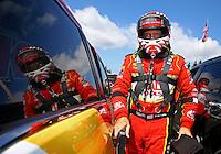 Aug. 4, 2013; Kent, WA, USA: NHRA top fuel dragster driver Doug Kalitta during the Northwest Nationals at Pacific Raceways. Mandatory Credit: Mark J. Rebilas-USA TODAY Sports