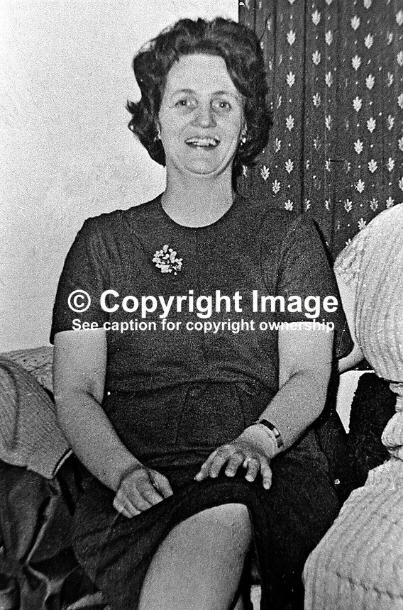 Emily Groves, 79 Tullymore Gardens, Andersonstown, Belfast, who was blinded by a rubber bullet fired by a solder. 1971110438..Copyright Image from Victor Patterson, 54 Dorchester Park, Belfast, UK, BT9 6RJ..Tel: +44 28 9066 1296.Mob: +44 7802 353836.Voicemail +44 20 8816 7153.Skype: victorpattersonbelfast.Email: victorpatterson@mac.com.Email: victorpatterson@ireland.com (back-up)..IMPORTANT: If you wish to use this image or any other of my images please go to www.victorpatterson.com and click on the Terms & Conditions. Then contact me by email or phone with the reference number(s) of the image(s) concerned.
