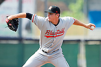 Starting pitcher Jarret Martin #37 of the Bluefield Orioles in action against the Princeton Rays at Hunnicutt Field July 4, 2010, in Princeton, West Virginia.  Photo by Brian Westerholt / Four Seam Images