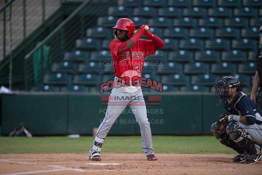 AZL Angels left fielder D'Shawn Knowles (20) at bat during an Arizona League game against the AZL Padres 2 at Tempe Diablo Stadium on July 18, 2018 in Tempe, Arizona. The AZL Padres 2 defeated the AZL Angels 8-1. (Zachary Lucy/Four Seam Images)