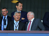 June 10th 2017, Hampden park, Glasgow, Scotland; World Cup 2018 Qualifying football, Scotland versus England; Peter Lawwell chief executive of Celtic chats to Craig Brown