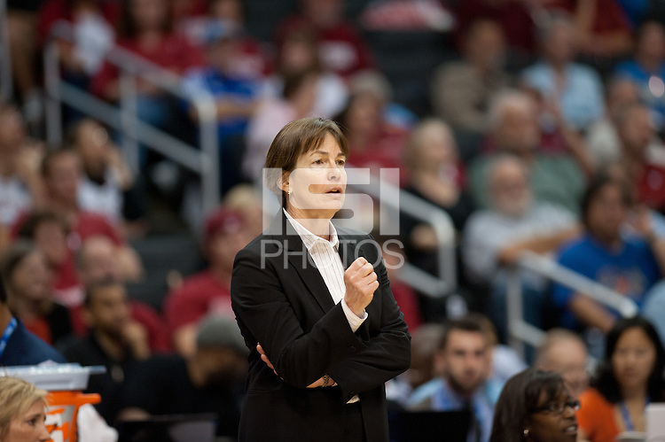 LOS ANGELES, CA - March 11, 2011:  Stanford head coach Tara VanDerveer during the semi-final game of the 2011 Pac-10 Tournament game against the Arizona Wildcats at Staples Center.  Stanford won, 100-71.