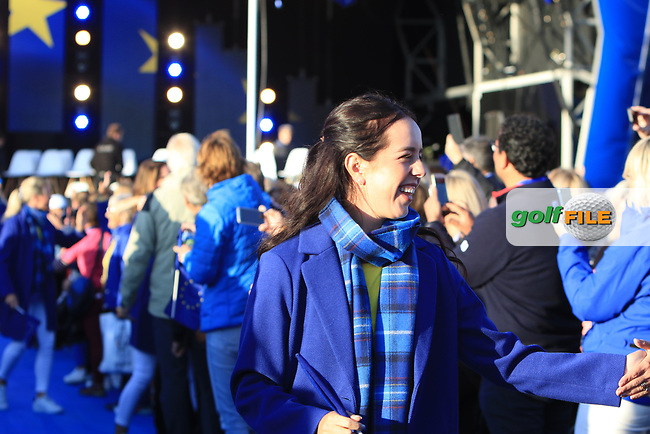 Georgia Hall (EUR) during the Opening Ceremony of the Solheim Cup 2019 at Gleneagles Golf CLub, Auchterarder, Perthshire, Scotland. 12/09/2019.<br /> Picture Thos Caffrey / Golffile.ie<br /> <br /> All photo usage must carry mandatory copyright credit (© Golffile | Thos Caffrey)