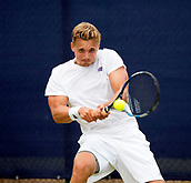 June 13th 2017, Nottingham, England; ATP Aegon Nottingham Open Tennis Tournament day 2;  Lloyd Glasspool of Great Britain plays a backhand on his way to victory over Go Soeda of Japan in two sets
