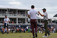 Cameron Tringale (USA) fist bumps Lanto Griffin (USA) after Griffin won the 2019 Houston Open, Golf Club of Houston, Houston, Texas, USA. 10/13/2019.<br /> Picture Ken Murray / Golffile.ie<br /> <br /> All photo usage must carry mandatory copyright credit (© Golffile | Ken Murray)
