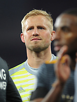 Leicester City's Kasper Schmeichel looks emotional as he joins his team-mates in thanking fans for their support<br /> <br /> Photographer Kevin Barnes/CameraSport<br /> <br /> The Premier League -  Cardiff City v Leicester City - Saturday 3rd November 2018 - Cardiff City Stadium - Cardiff<br /> <br /> World Copyright © 2018 CameraSport. All rights reserved. 43 Linden Ave. Countesthorpe. Leicester. England. LE8 5PG - Tel: +44 (0) 116 277 4147 - admin@camerasport.com - www.camerasport.com
