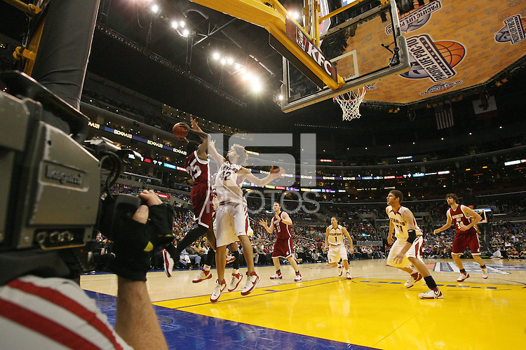 14 March 2008: Stanford Cardinal (L-R) Robin Lopez, Mitch Johnson, and Brook Lopez during Stanford's 75-68 win against the Washington State Cougars in the 2008 Pacific Life Pac-10 Men's Basketball Tournament at the Staples Center in Los Angeles, CA.