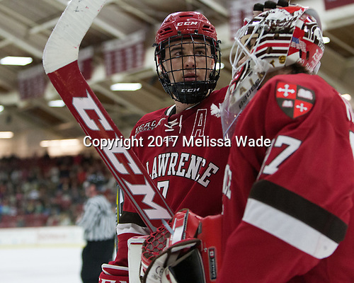Gavin Bayreuther (SLU - 7), Kyle Hayton (SLU - 27) - The Harvard University Crimson defeated the St. Lawrence University Saints 6-3 (EN) to clinch the ECAC playoffs first seed and a share in the regular season championship on senior night, Saturday, February 25, 2017, at Bright-Landry Hockey Center in Boston, Massachusetts.