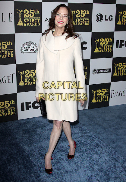 LESLEY ANN WARREN .25th Annual Film Independent Spirit Awards held At The Nokia LA Live, Los Angeles, California, USA,.March 5th, 2010 ..arrivals Indie Spirit full length cream white coat black clutch bag shoes red collar .CAP/ADM/KB.©Kevan Brooks/Admedia/Capital Pictures
