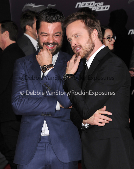 Dominic Cooper and Aaron Paul attends The Dreamworks Pictures' L.A. premiere of Need for Speed held at The TCL Chinese Theater in Hollywood, California on March 06,2014                                                                               © 2014 Hollywood Press Agency