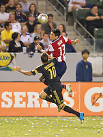 CARSON, CA - July 21, 2012: Chivas USA defender Ante Jazic (13) during the LA Galaxy vs Chivas USA match at the Home Depot Center in Carson, California. Final score LA Galaxy 3, Chivas USA 1.