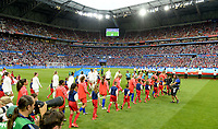20190702 - LYON , FRANCE : Both teams pictured entering the pitch prior to the female soccer game between England  - the Lionesses - and The United States of America  – USA - , a knock out game in the semi finals of the FIFA Women's  World Championship in France 2019, Tuesday 2 nd July 2019 at the Stade de Lyon  Stadium in Lyon  , France .  PHOTO SPORTPIX.BE | DAVID CATRY
