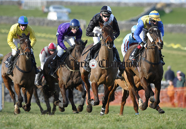 Action from the fourth race at the Clare Hunt annual Point to Point at Bellharbour. Photograph by John Kelly.