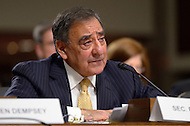 February 14, 2012  (Washington, DC)  Secretary of Defense, Leon Panetta testifies before the Senate Armed Services Committee regarding the FY2013 defense budget.   (Photo by Don Baxter/Media Images International)