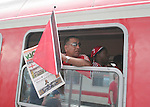 15 June 2006: A Trinidad fan on his way to the game. England played Trinidad and Tobago at the Frankenstadion in Nuremberg, Germany in match 19, a Group B first round game, of the 2006 FIFA World Cup.