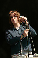 The Strokes performing at the K-Rock Dysfunctional Family Picnic at Jones Beach Theater in New York on June 8, 2002. Photo by Scott Gries/PictureGroup