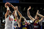 Real Madrid´s Felipe Reyes and Barcelona´s Huertas during Liga Endesa Final first match at Palacio de los Deportes in Madrid, Spain. June 19, 2015. (ALTERPHOTOS/Victor Blanco)