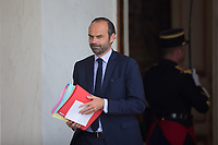 French Prime Minister Edouard Philippe leaves the Elysee presidential palace following the weekly cabinet meeting on Wednesday, 28 June 2017 in Paris # CONSEIL DES MINISTRES DU 28/06/2017