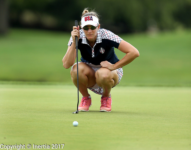 DES MOINES, IA - AUGUST 20: USA's Brittany Lang looks over her birdie putt on the 9th hole during her singles match Sunday morning at the 2017 Solheim Cup in Des Moines, IA. (Photo by Dave Eggen/Inertia)