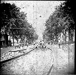 Frederick Stone negatice. Laying tracks for the Trolley. 1894.