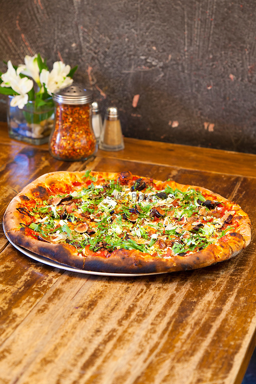 Specialty Pizzas at Solstice, a cafe that features a wood fired oven, local beer and wine, food made with locally sourced ingredients in Bingen Washington, located in Washington's Columbia River Gorge