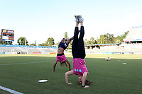 Cary, North Carolina  - Saturday September 09, 2017: Sabrina D'Angelo and Jessica McDonald show off their handstands prior to a regular season National Women's Soccer League (NWSL) match between the North Carolina Courage and the Houston Dash at Sahlen's Stadium at WakeMed Soccer Park. The Courage won the game 1-0.