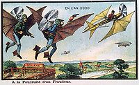 BNPS.co.uk (01202 558833)<br /> Pic:  Hansons/BNPS<br /> <br /> Many of the pictures show people flying, this one appearing to depict a police chase.<br /> <br /> A remarkable set of drawings which were produced in 1899 to predict the future have come to light - and some of the ideas are plain wacky.<br /> <br /> Their outlandish vision of the world in 2000 includes flying cars, whales pulling coaches and games of croquet under the sea.<br /> <br /> The illustrations were produced by a group of French artists for a Paris exhibition entitled 'En L'An 2000'. (In the year 2000)<br /> <br /> They did not foresee a man on the moon or the first computer, but predicted people would be playing tennis with bat wings.