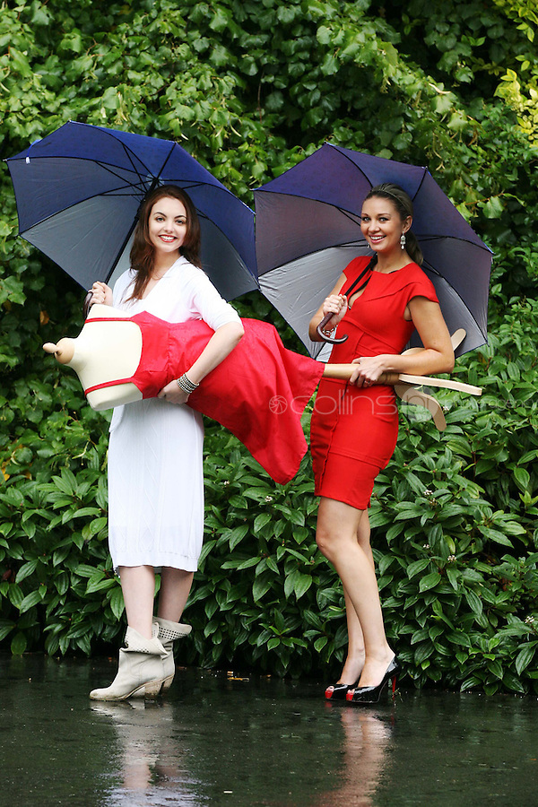 23/8/2010. launch Buy My Dress Online.TV3 presenter Anna Daly and model Kate Sheridan are pictured in St Stephens Green to launch Buy My Dress Online - Ireland's first online second-hand dress shop which will sell a range of lightly-used women's and children's dresses which have been donated to the charity by the Irish public. www.buymydressonline.ie. Picture James Horan/Collins Photos