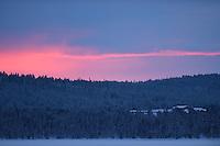 Deep frozen winter landscape in -39 degrees, Jukkasjärvi, Lapland, Laponia, Norrbotten county, Sweden