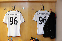 Pictured: Adam Woodyatt of Eastenders team shirts in the changing room. Sunday, 01 June 2014<br /> Re: Celebrities v Celebrities football game organised by Sellebrity Scoccer, in aid of Swansea City Community Trust, at the Liberty Stadium, south Wales.