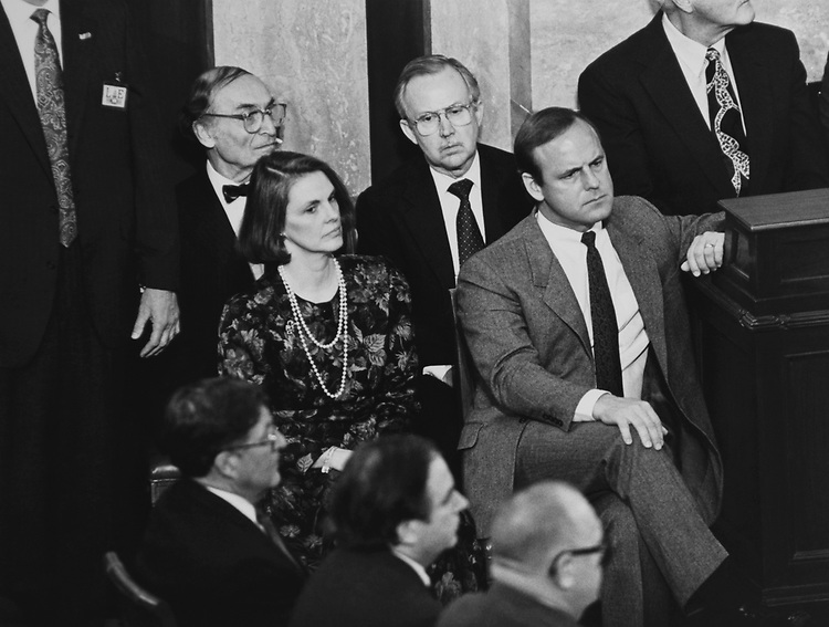 Senate Sergeant at Arms Martha Pope, George White, Jeo Stewart, House Sergeant At Arms Jack Russ, Rep. John E. Sununu, R-N.H., Daiman and Derwenski on Jan. 30, 1992. (Photo by Laura Patterson/CQ Roll Call via Getty Images)