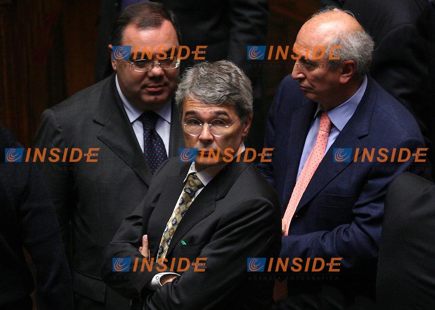 Roma, 09/05/06 Camera dei Deputati. All'ordine del giorno la terza votazione per l'elezione del Presidente della Repubblica. <br /> Nella foto l'ex ministro della Giustizia Roberto Castelli.<br /> Photo Samantha Zucchi Insidefoto