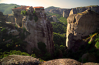 Kalambaka, Kastraki, Meteora, Greece, June 2006. Varlaam Monastery with Roussanou in the background. The Monastaries of Meteora can be found high on the steepest rocks, Photo by Frits Meyst/Adventure4ever.com