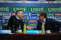 VOETBAL: HEERENVEEN: Abe Lenstra Stadion, 07-02-2015, Eredivisie, sc Heerenveen - PEC Zwolle, Eindstand: 4-0, Persconferentie, Ron Jans (trainer PEC), Dwight Lodeweges (trainer sc Heerenveen), ©foto Martin de Jong