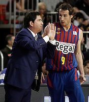 FC Barcelona Regal's coach Xavi Pascual (l) and Marcelinho Huertas during Liga Endesa ACB match.November 18,2012. (ALTERPHOTOS/Acero) NortePhoto