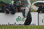Day one from the 3 Irish open in Co Louth Golf Club..Oliver Wilson  playing his third shot onto the 18th green..Photo: Fran Caffrey/www.golffile.ie..
