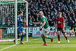 13.04.2019, Weserstadion, Bremen, GER, 1.FBL, Werder Bremen vs SC Freiburg<br /> <br /> DFL REGULATIONS PROHIBIT ANY USE OF PHOTOGRAPHS AS IMAGE SEQUENCES AND/OR QUASI-VIDEO.<br /> <br /> im Bild / picture shows<br /> Jubel 1:0, Davy Klaassen (Werder Bremen #30) bejubelt seinen Treffer per Kopfball &uuml;ber Nico Schlotterbeck (SC Freiburg #49) zum 1:0 gegen Alexander Schwolow (SC Freiburg #01) zum 1:0, <br /> <br /> Foto &copy; nordphoto / Ewert