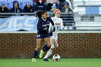 CHAPEL HILL, NC - NOVEMBER 16: Rachel Jones #10 of the University of North Carolina is chased by A.B. Hawkins #8 of Belmont University during a game between Belmont and North Carolina at UNC Soccer and Lacrosse Stadium on November 16, 2019 in Chapel Hill, North Carolina.
