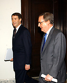 United States Senate Majority Leader Bill Frist (Republican of Tennessee), left, walks to a meeting of the Republican Leadership on the opening day of the 108th Congress with US Senate Majority Whip Mitch McConnell (Republican of Kentucky), right, in Washington, DC on January 6, 2003.<br /> Credit: Ron Sachs / CNP