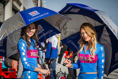 03.04.2016. Motorland, Aragon, Spain, World Championship Motul FIM of Superbikes.  Yamaha umbrella girls during  the Race  in the World Championship Motul FIM of Superbikes from the Circuito de Motorland.
