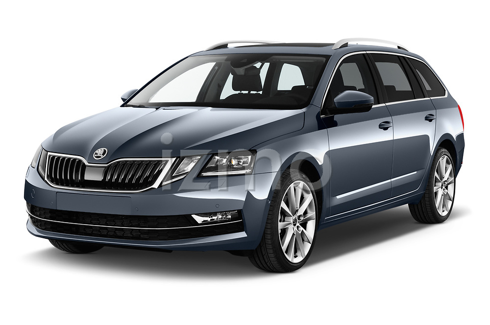 2017 Skoda Octavia Style 5 Door Wagon Angular Front stock photos of front three quarter view