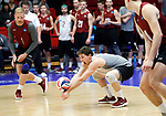 KENOSHA, WI - APRIL 28:  Stevens Institute's libero Jacob Hinton digs a ball at the Division III Men's Volleyball Championship held at the Tarble Athletic and Recreation Center on April 28, 2018 in Kenosha, Wisconsin. (Photo by Steve Woltmann/NCAA Photos via Getty Images)