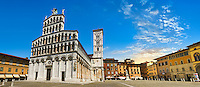 10th century San Michele in Foro is a Roman Catholic basilica church in Lucca, facade 13h century Romanesque , Tunscany, Italy