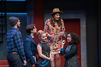 "From left:  Mitch Carswell '20 as BIG AL; Carey Cannata '21 as DR. GALL; Nina Srdić Hadži-Nešić '21 as DR. HALLIE; Hilary Kang Oglesby '20 as HELEN SPECTACULAR and Noa Carlson '22 as MO(NIQUE)<br /> Photo from the dress rehearsal of the Occidental College Department of Theater presentation of U-R-U by Julia Lederer, directed by Edgerton Guest Artist Jessica Kubzansky, Nov. 28, 2018 in Keck Theater.<br /> First daughter Helen Spectacular travels to Robo Island (Silicon Valley meets the Bermuda Triangle) on a secret mission to free thousands of robots from servitude. Absurdly comic and existentially chilling, U-R-U examines the societal obsession with progress at all costs and the decreasing worth of humanity in this increasingly artificial world.<br /> U-R-U is based on a 1920 science fiction play by the Czech writer Karel Čapek called R.U.R., which was the first time the word ""robot"" was used.<br /> (Photo by Marc Campos, Occidental College Photographer)"
