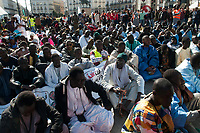 Party by the prophet of murismo 'Sheikh Ahmadou Bamba' at Puerta del Sol in Madrid on April 26, 2019.