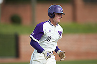 Evan Bergman (10) of the High Point Panthers hustles down the first base line against the Campbell Camels at Williard Stadium on March 16, 2019 in  Winston-Salem, North Carolina. The Camels defeated the Panthers 13-8. (Brian Westerholt/Four Seam Images)