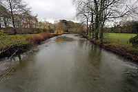 Pictured: River Ogmore near where Russell Sherwood went missing in Stormy Down, Wales, UK. Tuesday 22 November 2016<br />Re: The search has resumed for Russell Sherwood, 69, who went missing in river Ogmore, Bridgend County on Sunday.<br />Sherwood, of Cilfrew, Neath, was heading for Ewenny in the Vale of Glamorgan during heavy rain in the morning but never arrived.<br />He disappeared at Stormy Down and car parts were found on the river bank.<br />South Wales Police have confirmed registration plates recovered from a bumper match Mr Sherwood's car.