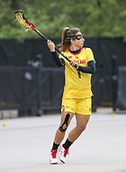 College Park, MD - April 19, 2018: Maryland Terrapins Brindi Griffin (1) passes the ball during game between Penn St. and Maryland at  Field Hockey and Lacrosse Complex in College Park, MD.  (Photo by Elliott Brown/Media Images International)